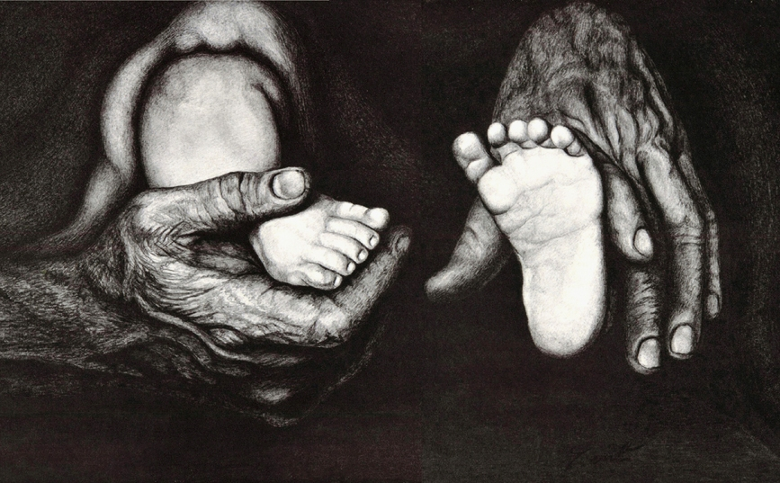 The babys feet